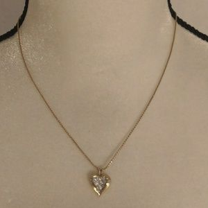 """18"""" Pave Heart Avon Pendant Necklace in box"""